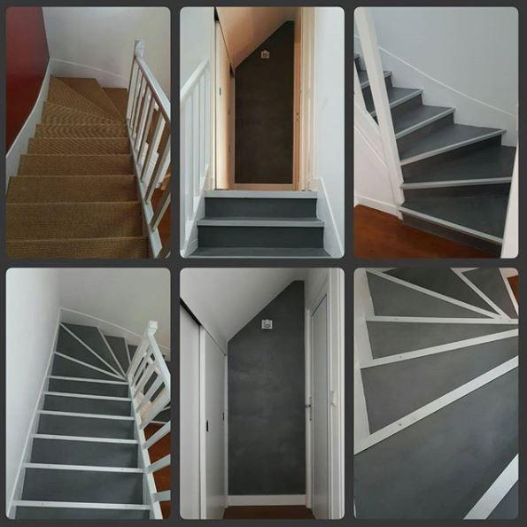 Beton cire sur un escalier en bois 92
