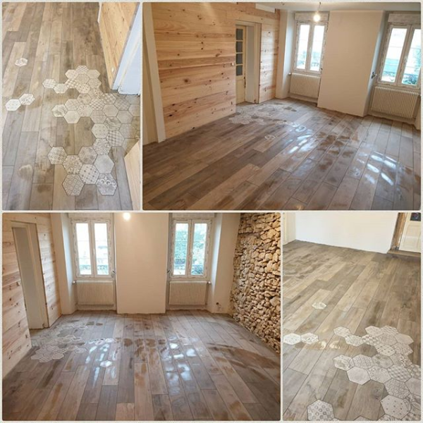 Carrelage aspect parquet et carreaux de ciment levignen