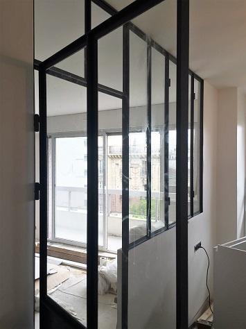 Cloison acier verre type atelier paris 75015