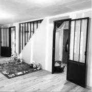 Cloison vitree vitrage atelier verriere triangulaire lagny le sec work in progress