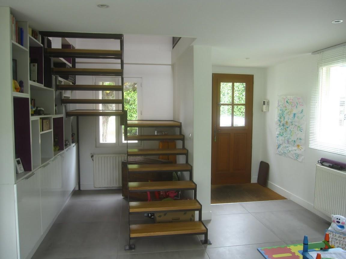 Escalier metal bois 95 1