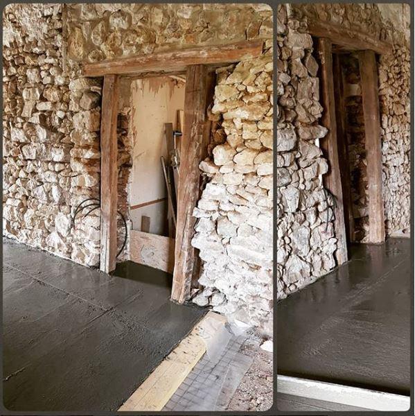 Ouverture d un mur porteur en pierres avec linteau en poutre en chene oise