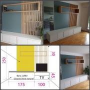 Separation de 2 pieces par un claustra ajoure en bois